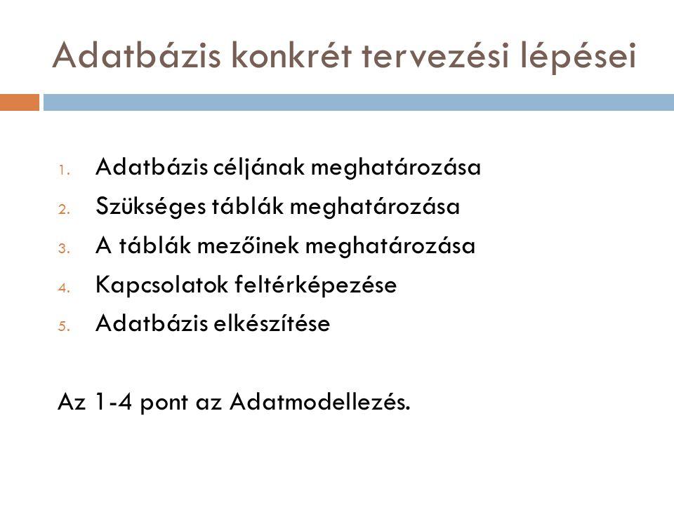 Adatbázis konkrét tervezési lépései 1. Adatbázis céljának meghatározása 2. Szükséges táblák meghatározása 3. A táblák mezőinek meghatározása 4. Kapcso