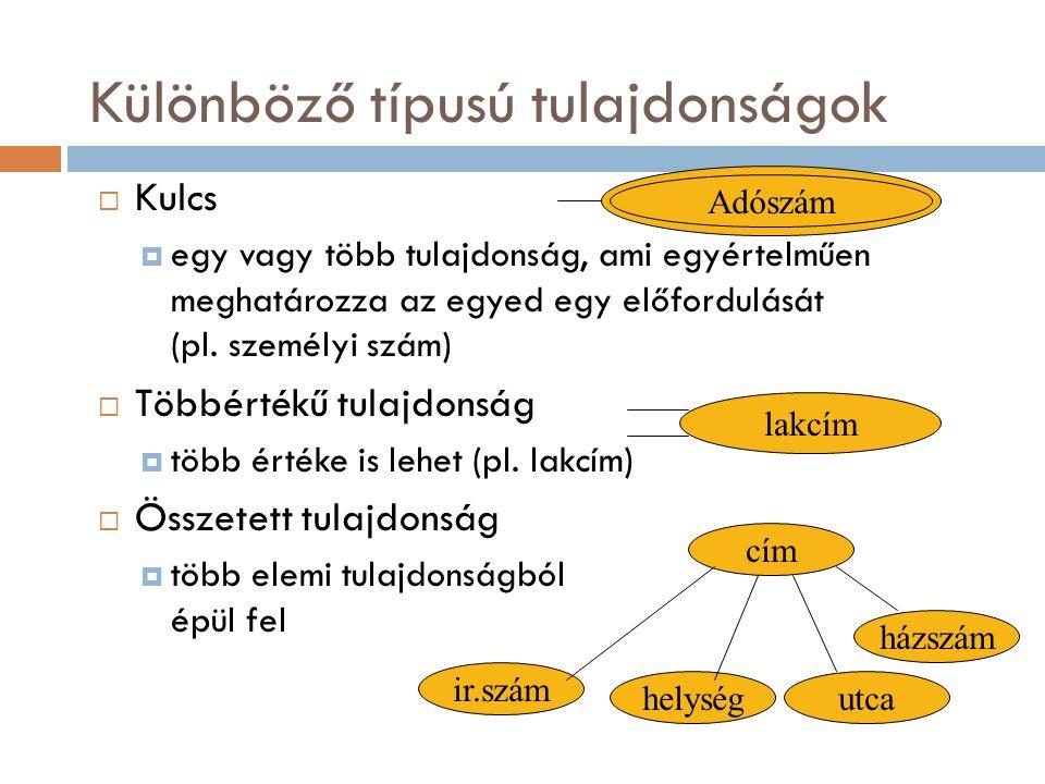 Különböző típusú tulajdonságok  Kulcs  egy vagy több tulajdonság, ami egyértelműen meghatározza az egyed egy előfordulását (pl. személyi szám)  Töb
