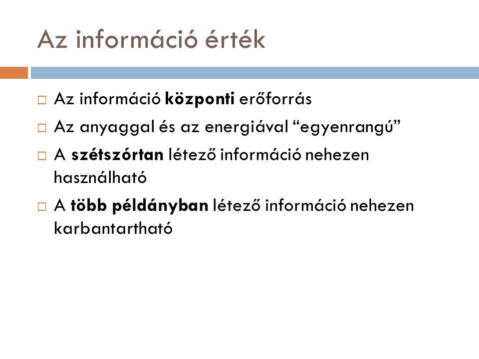 """Az információ érték  Az információ központi erőforrás  Az anyaggal és az energiával """"egyenrangú""""  A szétszórtan létező információ nehezen használha"""