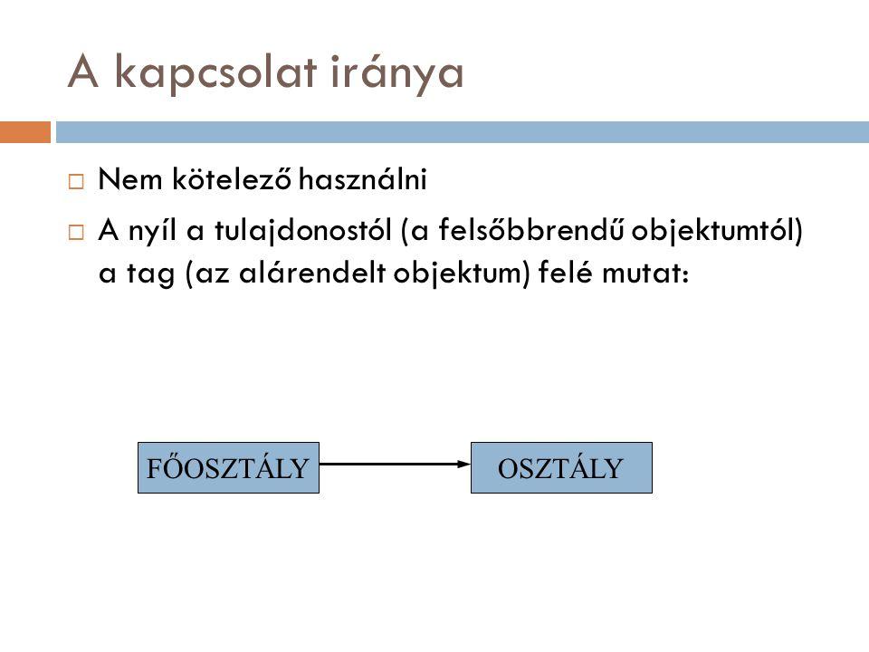 A kapcsolat iránya  Nem kötelező használni  A nyíl a tulajdonostól (a felsőbbrendű objektumtól) a tag (az alárendelt objektum) felé mutat: FŐOSZTÁLYOSZTÁLY
