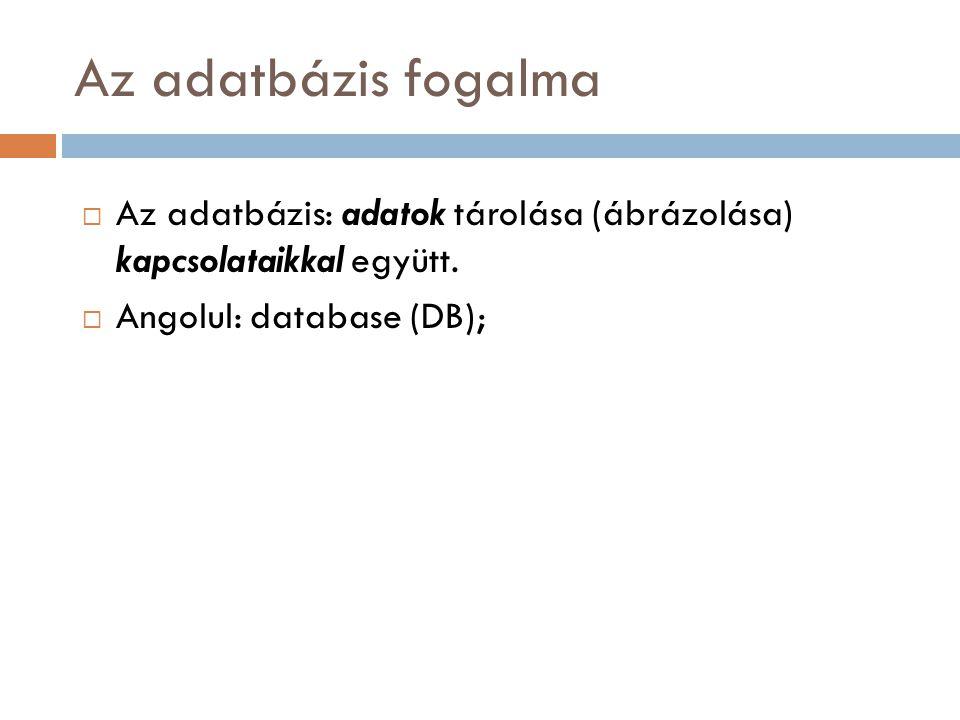 Az adatbázis fogalma  Az adatbázis: adatok tárolása (ábrázolása) kapcsolataikkal együtt.  Angolul: database (DB);