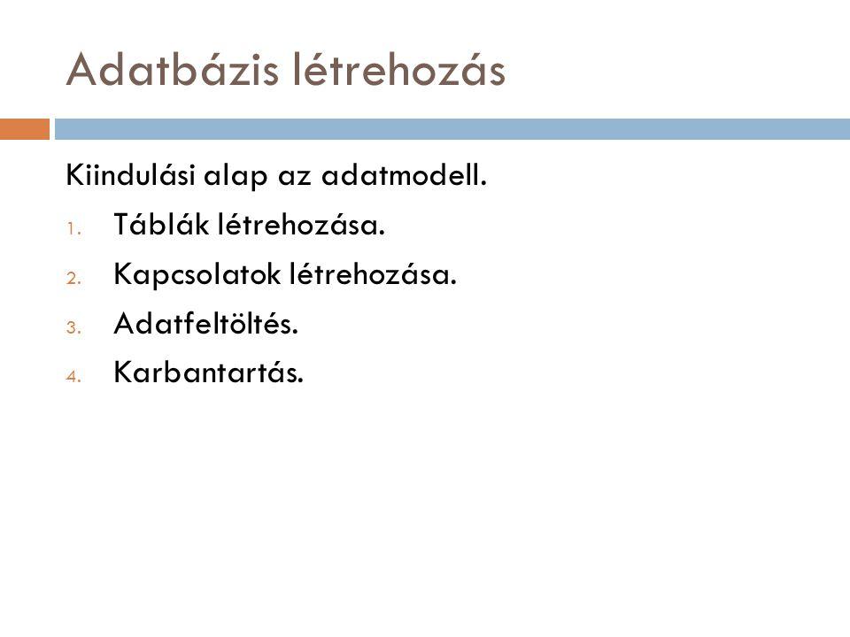Adatbázis létrehozás Kiindulási alap az adatmodell. 1. Táblák létrehozása. 2. Kapcsolatok létrehozása. 3. Adatfeltöltés. 4. Karbantartás.