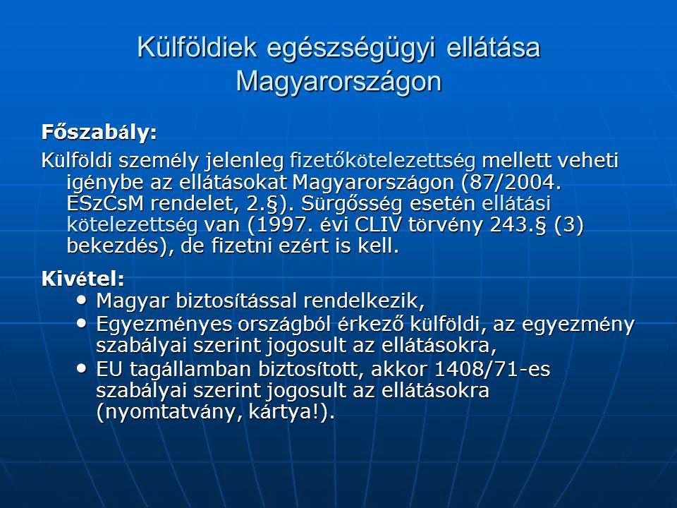 Külföldiek egészségügyi ellátása Magyarországon Főszab á ly: K ü lf ö ldi szem é ly jelenleg fizetők ö telezetts é g mellett veheti ig é nybe az ell á t á sokat Magyarorsz á gon (87/2004.
