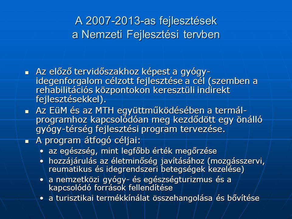 A 2007-2013-as fejlesztések a Nemzeti Fejlesztési tervben Az előző tervidőszakhoz képest a gyógy- idegenforgalom célzott fejlesztése a cél (szemben a rehabilitációs központokon keresztüli indirekt fejlesztésekkel).