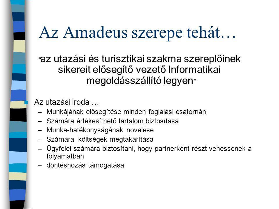 """Az Amadeus szerepe tehát… """" az utazási és turisztikai szakma szereplőinek sikereit elősegítő vezető Informatikai megoldásszállító legyen """" Az utazási"""