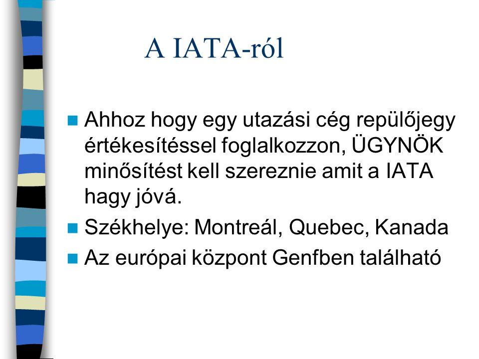 A IATA-ról Ahhoz hogy egy utazási cég repülőjegy értékesítéssel foglalkozzon, ÜGYNÖK minősítést kell szereznie amit a IATA hagy jóvá. Székhelye: Montr