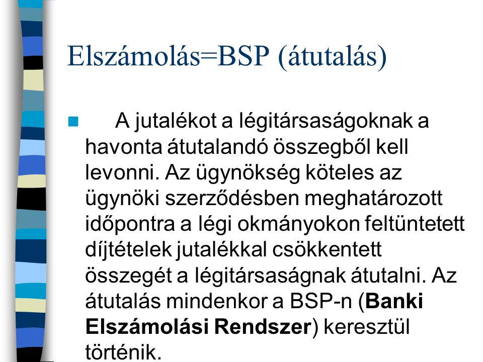 Elszámolás=BSP (átutalás) A jutalékot a légitársaságoknak a havonta átutalandó összegből kell levonni. Az ügynökség köteles az ügynöki szerződésben me