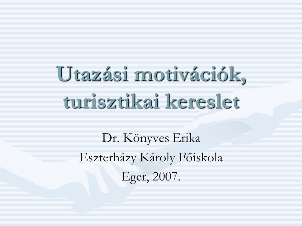 Utazási motivációk, turisztikai kereslet Dr. Könyves Erika Eszterházy Károly Főiskola Eger, 2007.