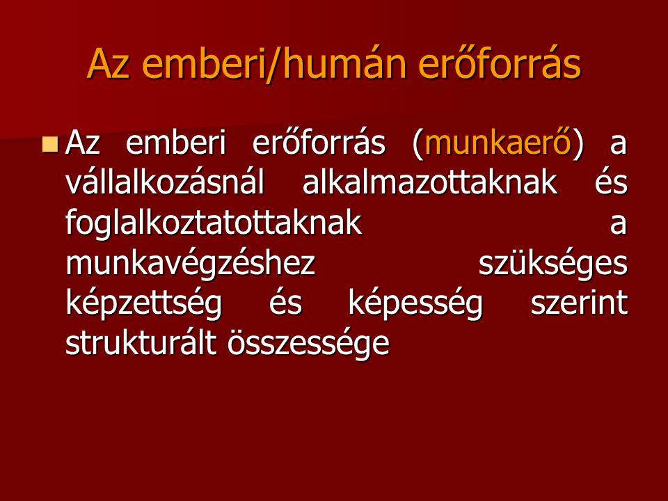 Az emberi/humán erőforrás Az emberi erőforrás (munkaerő) a vállalkozásnál alkalmazottaknak és foglalkoztatottaknak a munkavégzéshez szükséges képzetts