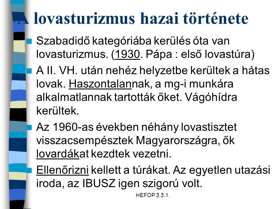 HEFOP 3.3.1. A lovasturizmus hazai története Szabadidő kategóriába kerülés óta van lovasturizmus. (1930. Pápa : első lovastúra) A II. VH. után nehéz h