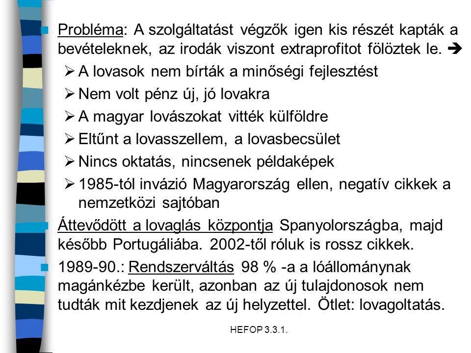 HEFOP 3.3.1.1996: Káosz: rengeteg lovasiskola, legtöbbjük képzetlen- és alkalmatlan vezetővel.