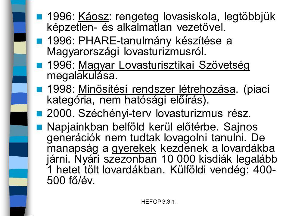 HEFOP 3.3.1. 1996: Káosz: rengeteg lovasiskola, legtöbbjük képzetlen- és alkalmatlan vezetővel. 1996: PHARE-tanulmány készítése a Magyarországi lovast