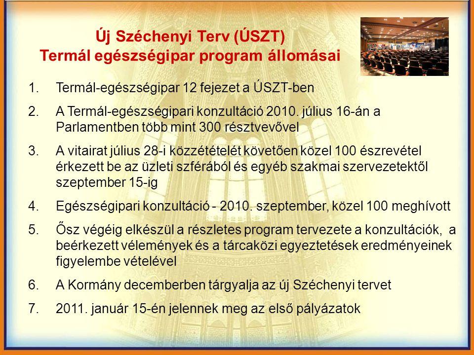 """A Gyógyító Magyarország (""""egészségipar várható megvalósítása) A stratégia készítése, a pályázatok szakmai tartalmának előkészítése – Nemzetgazdasági Minisztérium Turisztikai Főosztály feladata Az új pályázati rendet a Nemzeti Fejlesztési Minisztérium év végéig készíti elő A pályázati rendszerrel szembeni követelmény: az eljárási rend egyszerűsítése, gyorsítása A finanszírozás döntően Európai Uniós forrásokból történik A pályázatok meghirdetése 2011."""