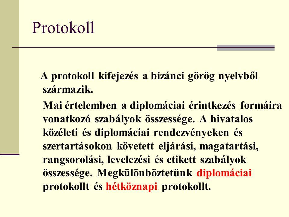 Protokoll A protokoll kifejezés a bizánci görög nyelvből származik. Mai értelemben a diplomáciai érintkezés formáira vonatkozó szabályok összessége. A