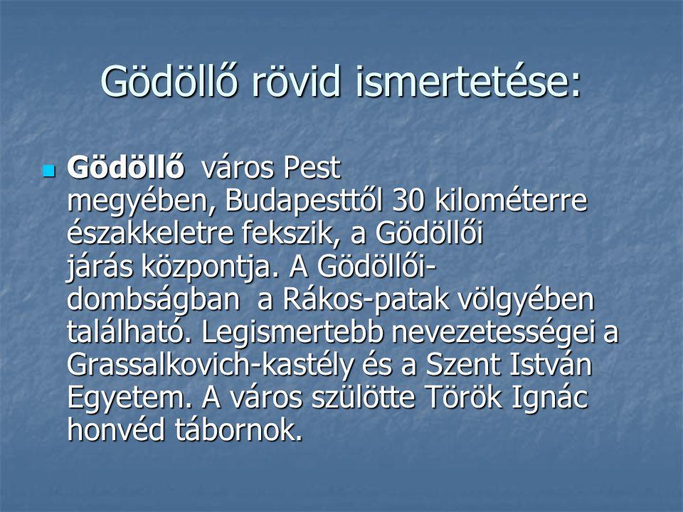 Gödöllő rövid ismertetése: Gödöllő város Pest megyében, Budapesttől 30 kilométerre északkeletre fekszik, a Gödöllői járás központja. A Gödöllői- dombs