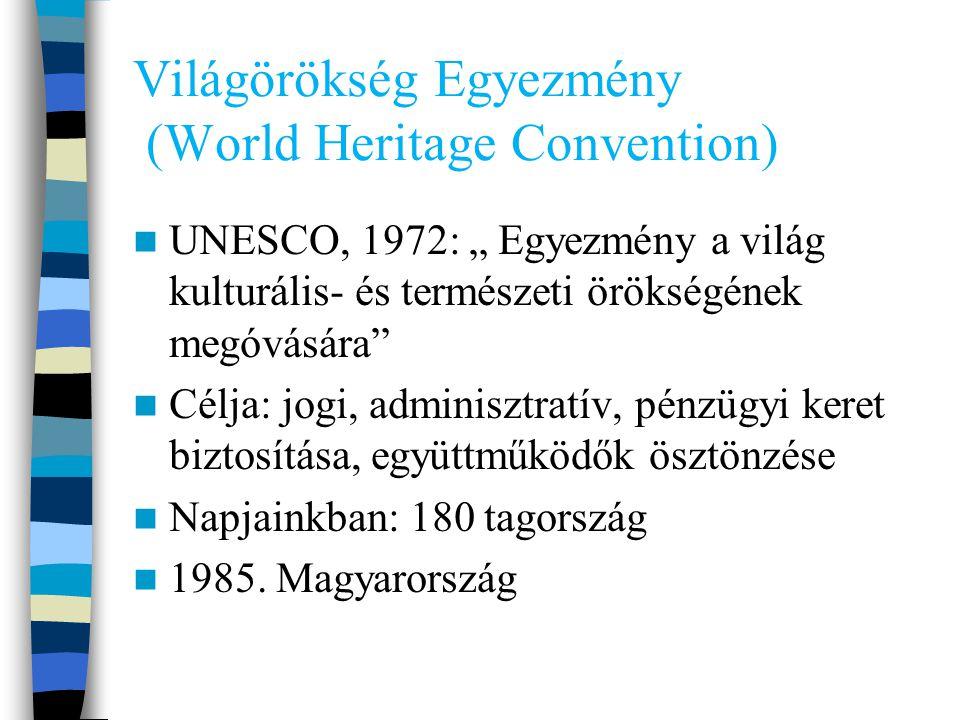 """Világörökség Egyezmény (World Heritage Convention) UNESCO, 1972: """" Egyezmény a világ kulturális- és természeti örökségének megóvására Célja: jogi, adminisztratív, pénzügyi keret biztosítása, együttműködők ösztönzése Napjainkban: 180 tagország 1985."""