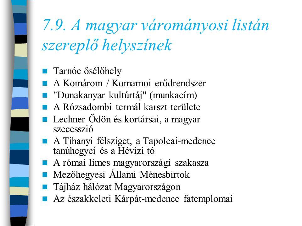 7.9. A magyar várományosi listán szereplő helyszínek Tarnóc ősélőhely A Komárom / Komarnoi erődrendszer