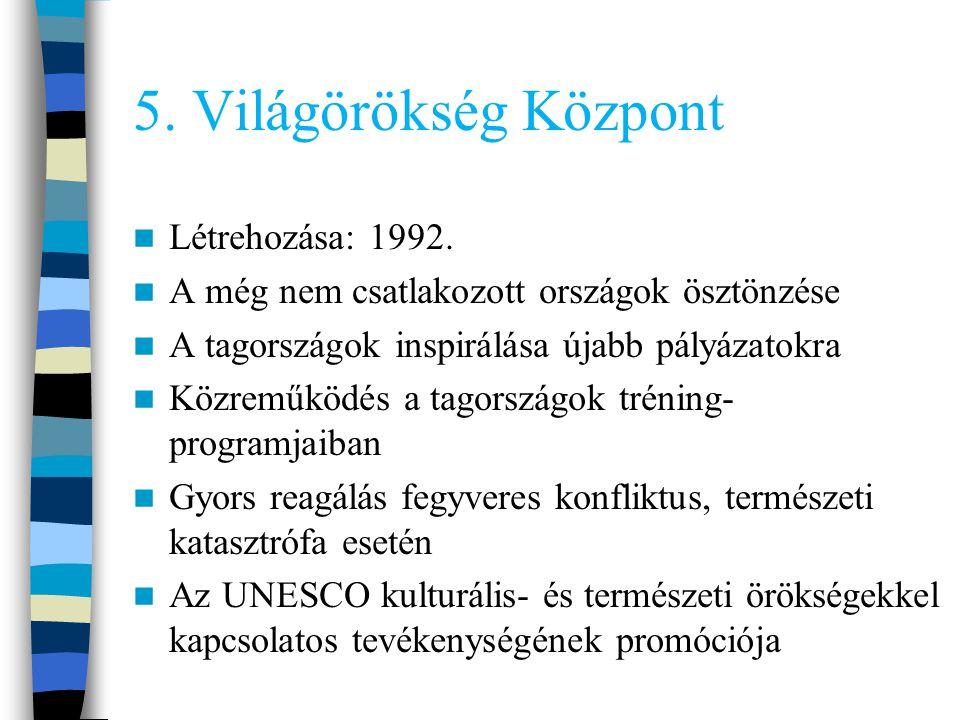 5.Világörökség Központ Létrehozása: 1992.