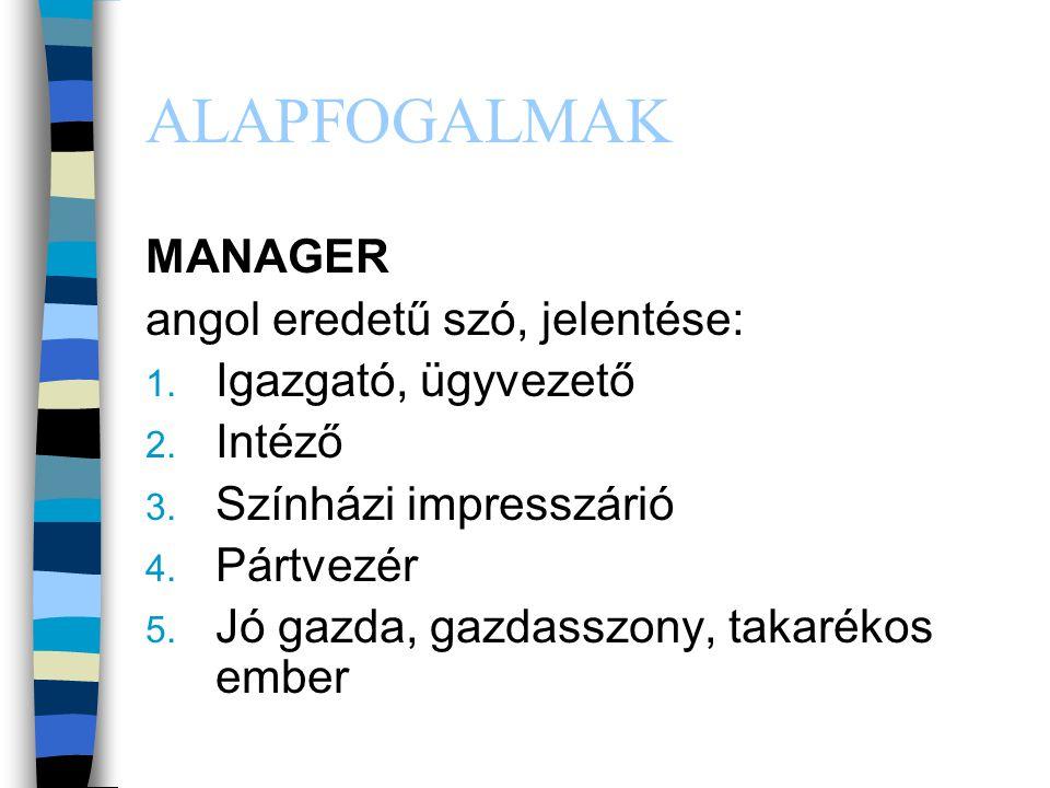 ALAPFOGALMAK MANAGER angol eredetű szó, jelentése: 1. Igazgató, ügyvezető 2. Intéző 3. Színházi impresszárió 4. Pártvezér 5. Jó gazda, gazdasszony, ta