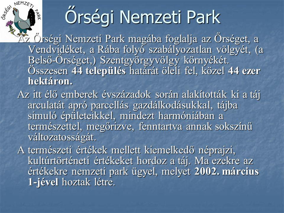 Őrségi Nemzeti Park Az Őrségi Nemzeti Park magába foglalja az Őrséget, a Vendvidéket, a Rába folyó szabályozatlan völgyét, (a Belső-Őrséget,) Szentgyö