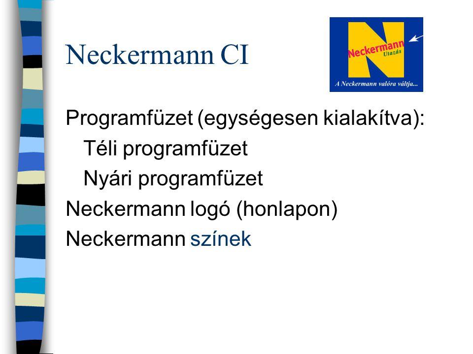 Neckermann CI Programfüzet (egységesen kialakítva): Téli programfüzet Nyári programfüzet Neckermann logó (honlapon) Neckermann színek