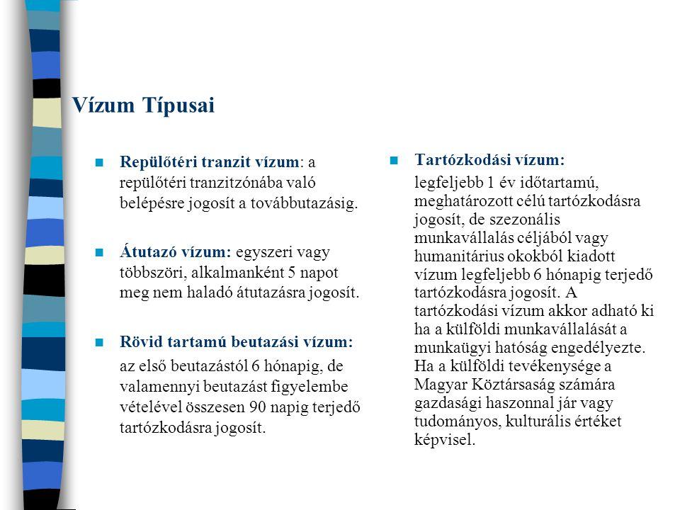 Vízum Típusai Repülőtéri tranzit vízum: a repülőtéri tranzitzónába való belépésre jogosít a továbbutazásig. Átutazó vízum: egyszeri vagy többszöri, al