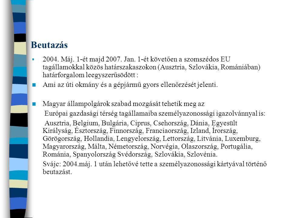 Beutazás  2004. Máj. 1-ét majd 2007. Jan. 1-ét követően a szomszédos EU tagállamokkal közös határszakaszokon (Ausztria, Szlovákia, Romániában) határf