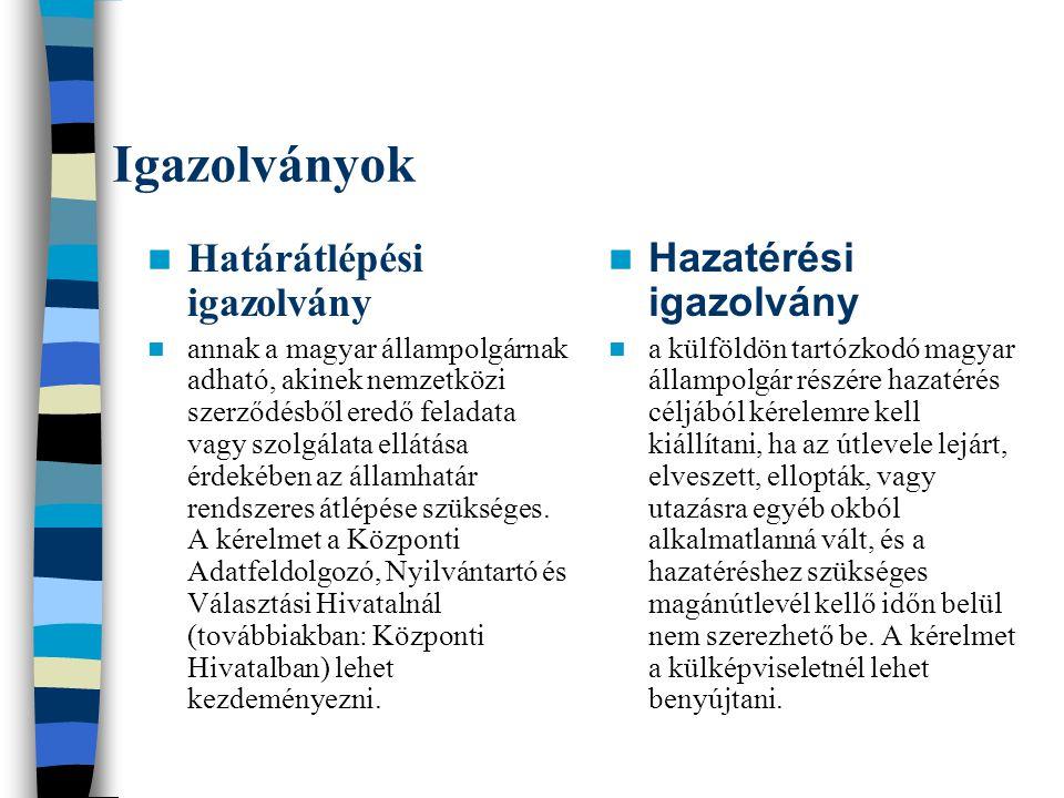 Igazolványok Határátlépési igazolvány annak a magyar állampolgárnak adható, akinek nemzetközi szerződésből eredő feladata vagy szolgálata ellátása érd