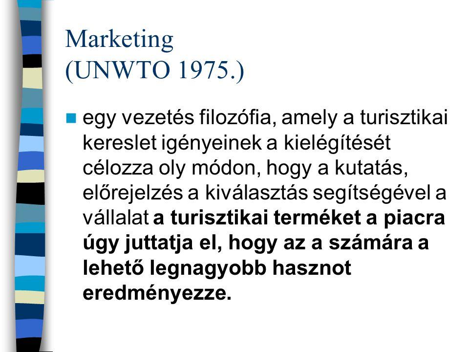 Marketing (UNWTO 1975.) egy vezetés filozófia, amely a turisztikai kereslet igényeinek a kielégítését célozza oly módon, hogy a kutatás, előrejelzés a