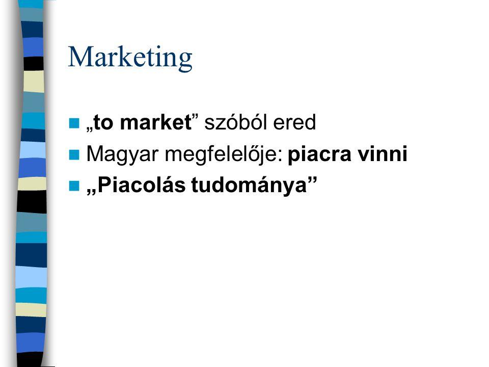 """Marketing """"to market"""" szóból ered Magyar megfelelője: piacra vinni """"Piacolás tudománya"""""""