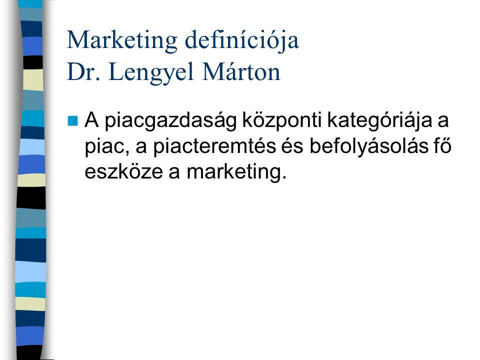 Marketing definíciója Dr. Lengyel Márton A piacgazdaság központi kategóriája a piac, a piacteremtés és befolyásolás fő eszköze a marketing.