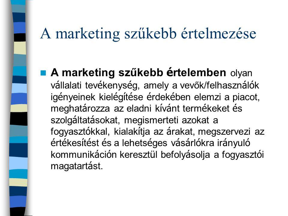 A marketing szűkebb értelmezése A marketing szűkebb é rtelemben olyan v á llalati tev é kenys é g, amely a vevők/felhaszn á l ó k ig é nyeinek kiel é