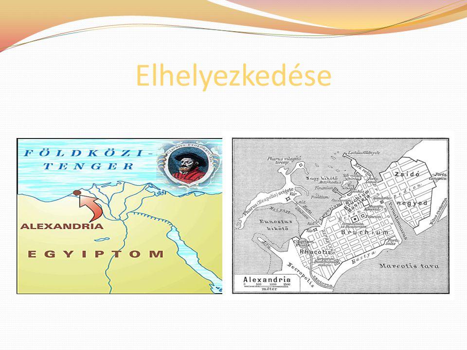 A város alapítása Alexandria a Nílus deltatorkolatában fekszik, Egyiptom egyik legnagyobb kikötővárosa A várost Nagy Sándor alapította i.e.