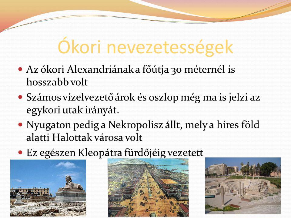 Ókori nevezetességek Az ókori Alexandriának a főútja 30 méternél is hosszabb volt Számos vízelvezető árok és oszlop még ma is jelzi az egykori utak ir