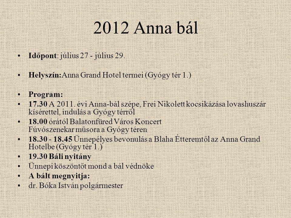 2012 Anna bál Időpont: július 27 - július 29. Helyszín:Anna Grand Hotel termei (Gyógy tér 1.) Program: 17.30 A 2011. évi Anna-bál szépe, Frei Nikolett