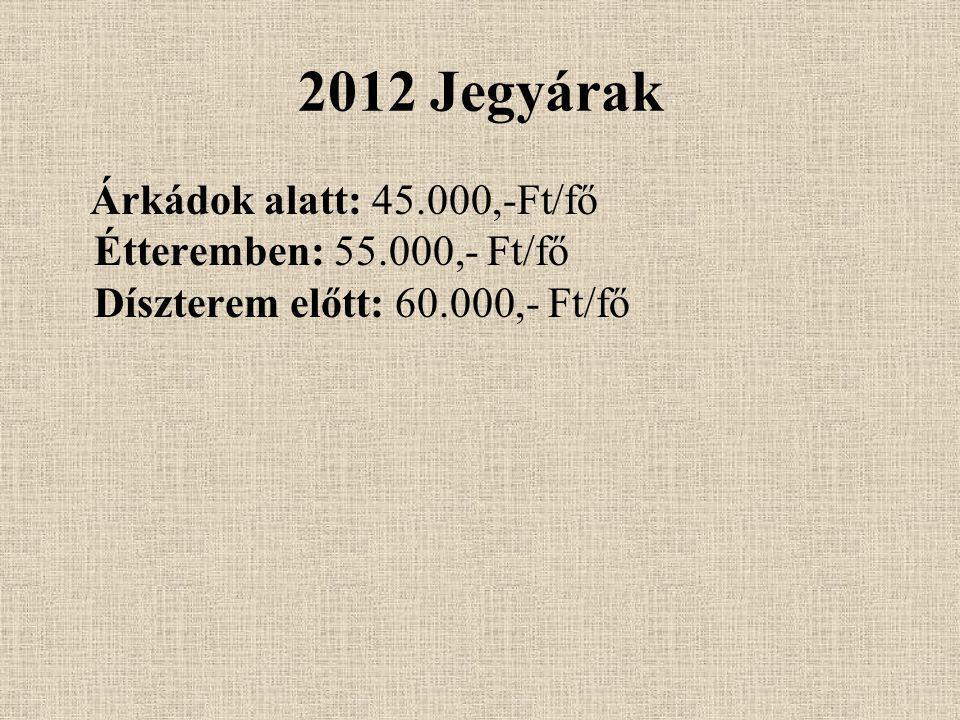 2012 Jegyárak Árkádok alatt: 45.000,-Ft/fő Étteremben: 55.000,- Ft/fő Díszterem előtt: 60.000,- Ft/fő