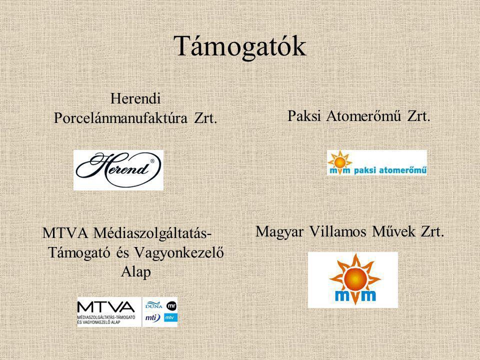Támogatók Herendi Porcelánmanufaktúra Zrt. MTVA Médiaszolgáltatás- Támogató és Vagyonkezelő Alap Paksi Atomerőmű Zrt. Magyar Villamos Művek Zrt.