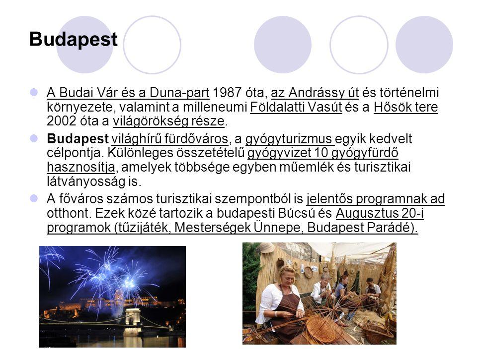 Budapest A Budai Vár és a Duna-part 1987 óta, az Andrássy út és történelmi környezete, valamint a milleneumi Földalatti Vasút és a Hősök tere 2002 óta