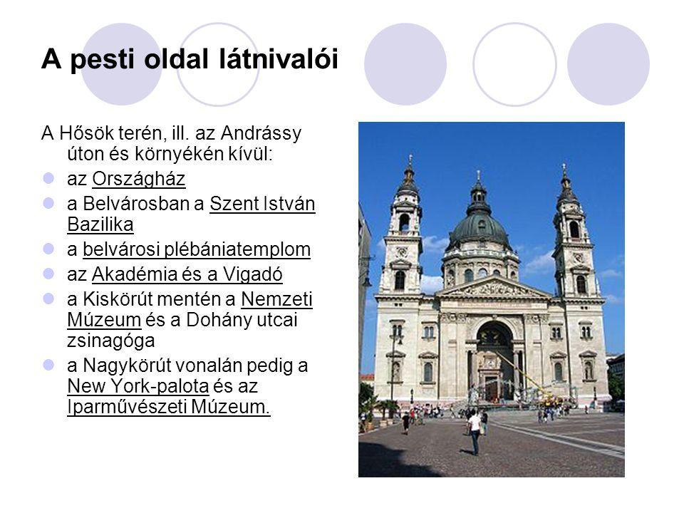 Múzeumok, hidak Budapest leglátványosabb múzeumai közé tartoznak az említetteken kívül a Szépművészeti Múzeum, a Nemzeti Galéria, a Néprajzi Múzeum, Budapest Történeti Múzeum, és a Szoborpark.
