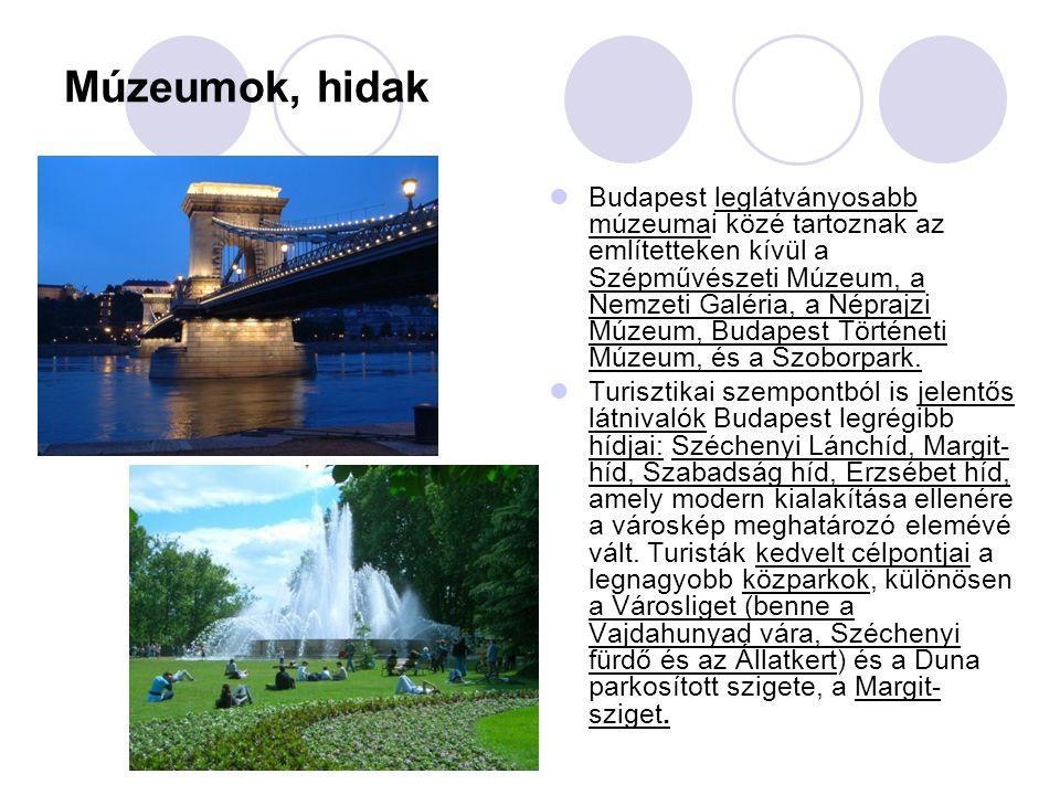 Múzeumok, hidak Budapest leglátványosabb múzeumai közé tartoznak az említetteken kívül a Szépművészeti Múzeum, a Nemzeti Galéria, a Néprajzi Múzeum, B