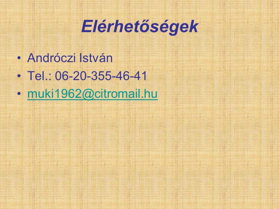 Elérhetőségek Andróczi István Tel.: 06-20-355-46-41 muki1962@citromail.hu