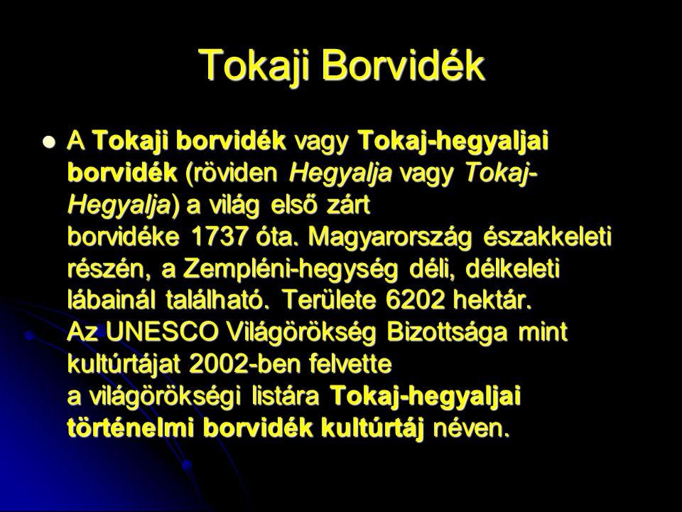 Tokaj A Tokaji borvidék 87 km hosszúságban és 3–4 km szélességben foglal helyet 5500 hektárnyi területen, három jellegzetes hegy, az abaújszántói és a sátoraljaújhelyi Sátor-hegy, valamint a tokaji Kopasz- hegy közötti háromszögben, 28 település határában.