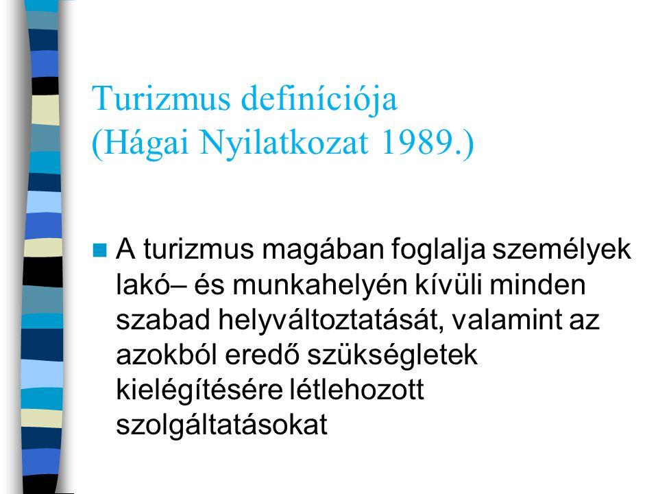 Turizmus definíciója (Hágai Nyilatkozat 1989.) A turizmus magában foglalja személyek lakó– és munkahelyén kívüli minden szabad helyváltoztatását, vala