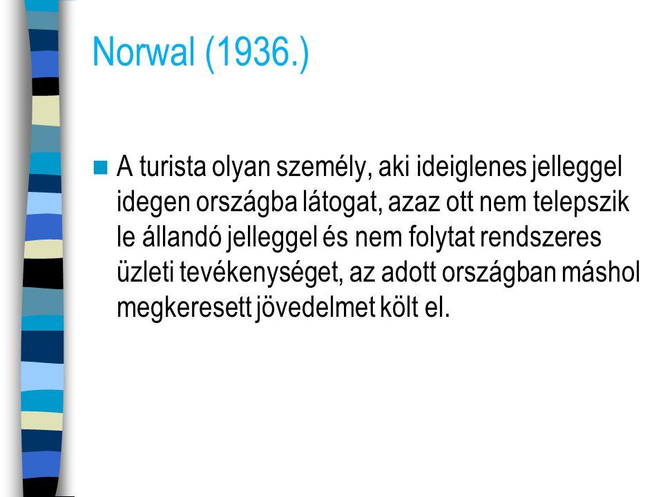 Norwal (1936.) A turista olyan személy, aki ideiglenes jelleggel idegen országba látogat, azaz ott nem telepszik le állandó jelleggel és nem folytat r