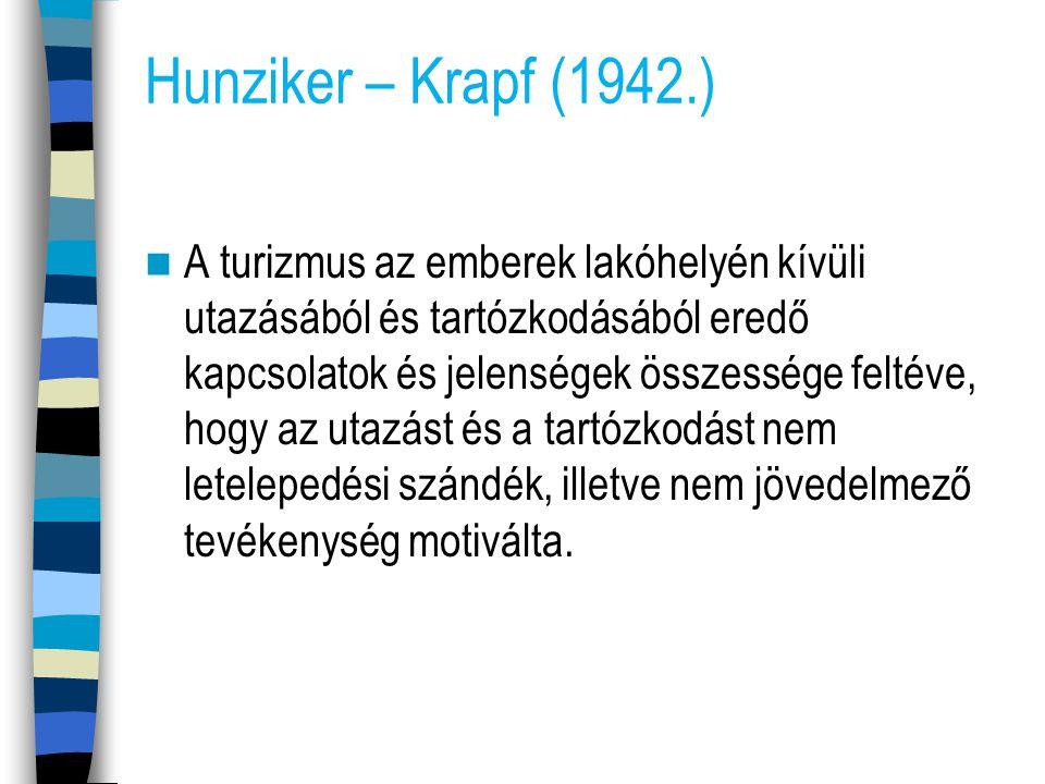 Hunziker – Krapf (1942.) A turizmus az emberek lakóhelyén kívüli utazásából és tartózkodásából eredő kapcsolatok és jelenségek összessége feltéve, hog