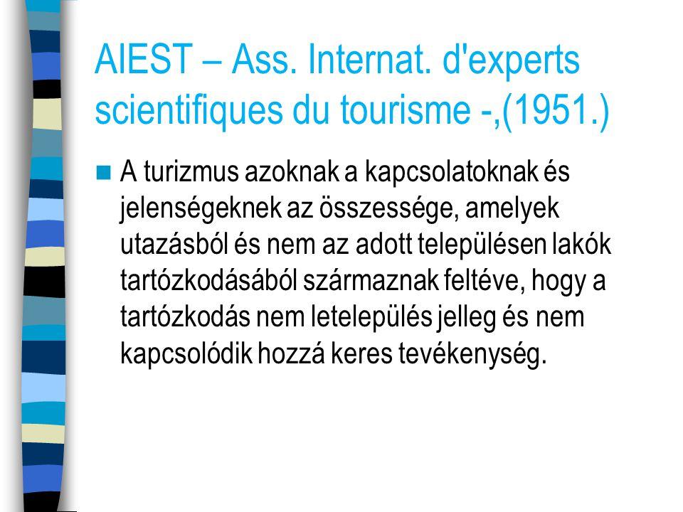 AIEST – Ass. Internat. d'experts scientifiques du tourisme -,(1951.) A turizmus azoknak a kapcsolatoknak és jelenségeknek az összessége, amelyek utazá