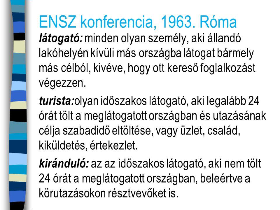 ENSZ konferencia, 1963. Róma látogató: minden olyan személy, aki állandó lakóhelyén kívüli más országba látogat bármely más célból, kivéve, hogy ott k