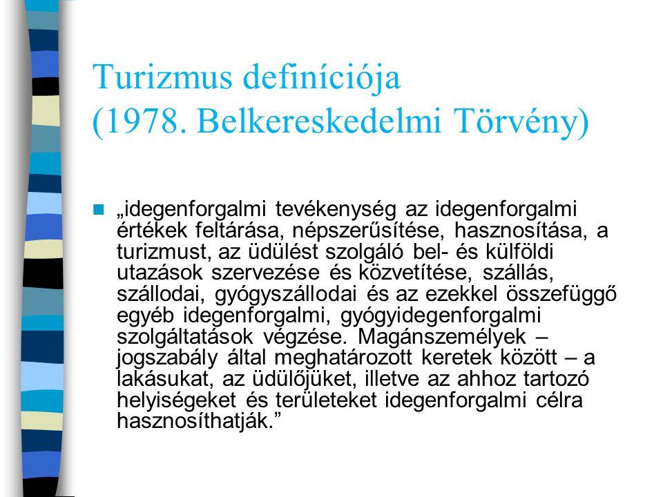 """Turizmus definíciója (1978. Belkereskedelmi Törvény) """"idegenforgalmi tevékenység az idegenforgalmi értékek feltárása, népszerűsítése, hasznosítása, a"""