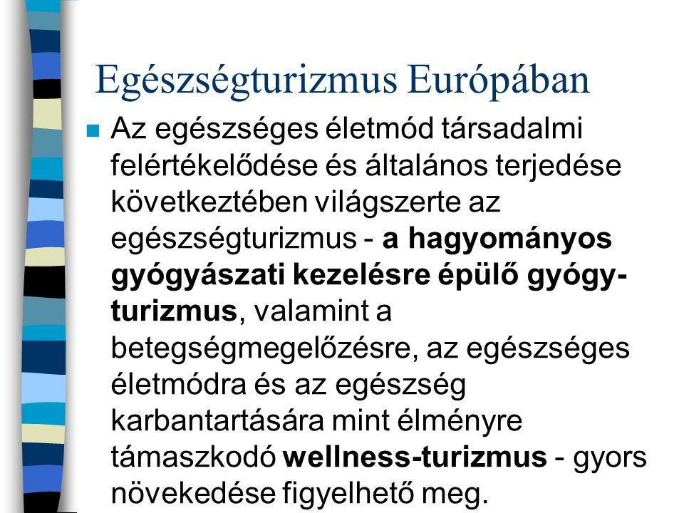 Egészségturizmus Európában n Az egészséges életmód társadalmi felértékelődése és általános terjedése következtében világszerte az egészségturizmus - a