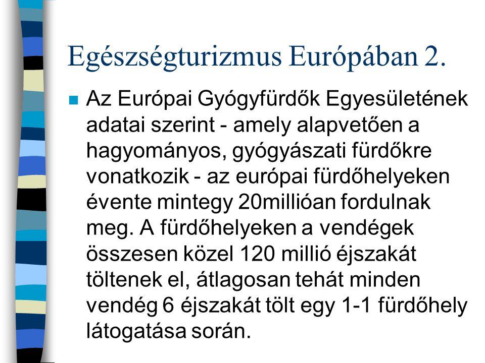 Egészségturizmus Európában 2. n Az Európai Gyógyfürdők Egyesületének adatai szerint - amely alapvetően a hagyományos, gyógyászati fürdőkre vonatkozik
